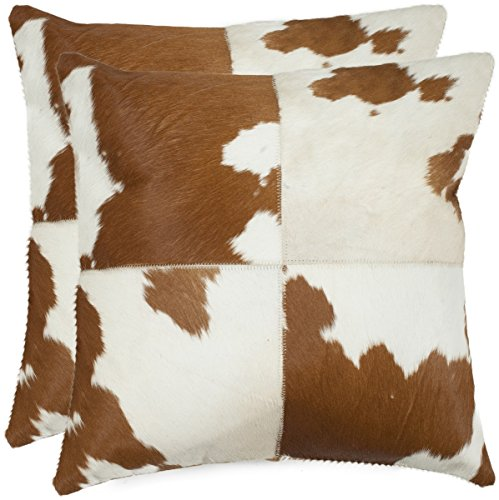 Safavieh Pillow Collection Cowhide 14 by 20-inch Tan/White Set of 2