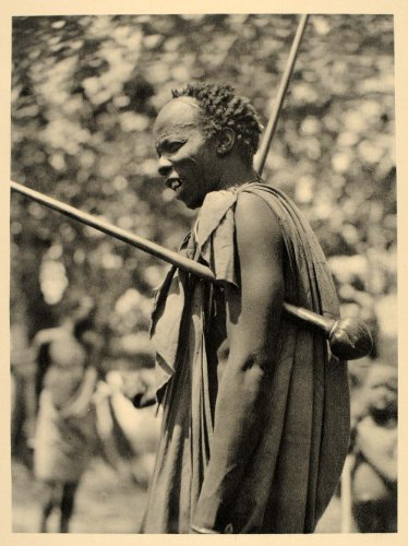 1930 Shilluk Warrior Club Sudan African Hugo Bernatzik - Original Photogravure