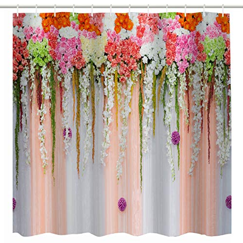 Natural Pink Coral Flower (BROSHAN Pink Flower Shower Curtain,Nature Flower Blossom on Coral and White Backdrop for Wedding Home Decoration Romantic Image,Polyester Waterproof Fabric Bathroom Decor Set with Hooks,72 x 72 Inch)