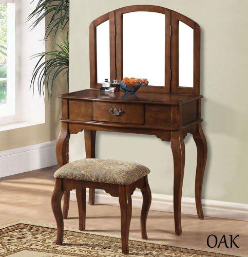 Mirror White Black Oak Cherry Wooden Make up Table Bench Vanity Set Oak