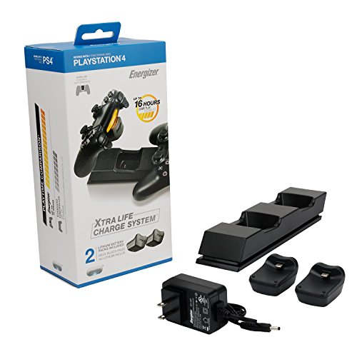PDP Energizer PS4 Controller Charger with Rechargeable Lithium Batteries for Two Wireless Controllers Charging Station 051-037, Deluxe