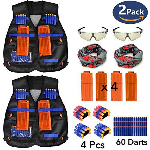 2 Pack Set Kids Tactical Jacket Vest Kit Nerf N Strike Gun Wars  60 X Refill Darts  4 X Wrist Bands  4 X Quick Reload Clip  2 X Face Mask  2 X Protective Glasses