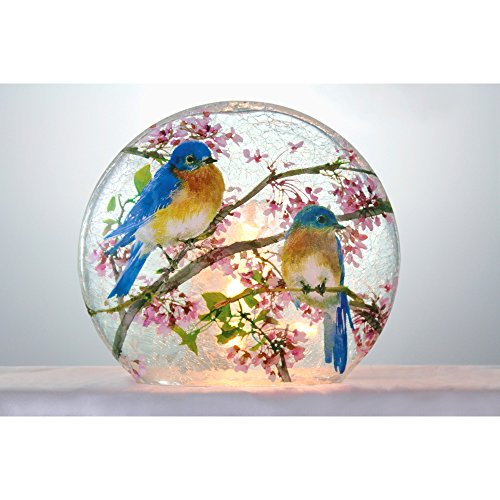 Stony Creek Frosted Glass Round Vase - Bluebirds