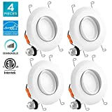 Luxrite 5/6 Inch Gimbal LED Recessed Light, 15W, 3000K Soft White, Dimmable LED Downlight, 1010 Lumens, Energy Star & ETL Listed, CRI 90, Damp Location - Adjustable Recessed Lighting (4 Pack)