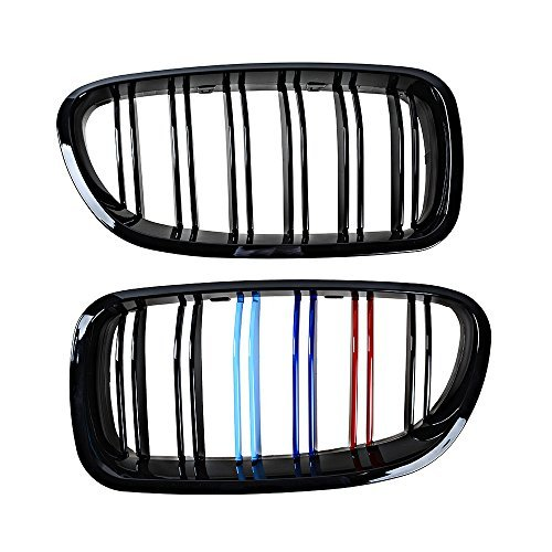 - High Glossy Black + M-color Kidney Double Line Grille Grill for BMW 10-16 Pre-Facelift F10 5-Series Sedan 520i, 523i, 525i, 528i, 530i, 535i, 550i (1 Pair)