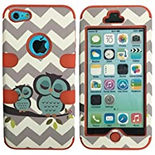 iPhone 5C Case, Lantier 3 Layers Verge Hybrid Soft Silicone Hard Plastic TUFF Triple Impact Shockproof Quakeproof Defender Drop Resistance Protective Case Cover for iPhone 5C Cheveron Waves Owl Red