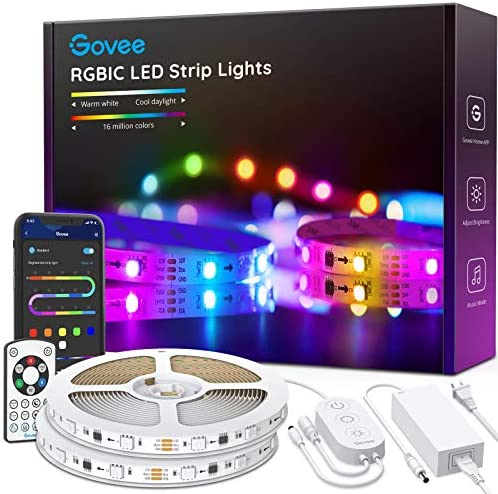Govee Rgbic Led Strip Lights, App and Remote Control for Bedroom, Living Room, Kitchen, and Party