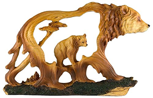 """Custom & Unique {5.5"""" x 9.25"""" Inch} 1 Single, Home & Garden """"Standing"""" Figurine Decoration Made of Grade A Resin w/ Bear In Frame Carved Wood Look Lodge Style {Brown, (Grizzly Bear Ornament)"""