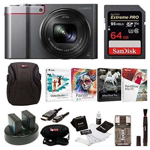 - Panasonic Lumix DMC-ZS100 Digital Camera w/Case & 64GB SD Card Bundle (Silver)