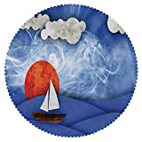 Durable Round Tablecloth [ Sailboat Nautical Decor,Sailing Ship with Sun and Clouds in Mist Water with Waves Funky Artwork,Blue Orange White ] Home Accessories Home Decoration