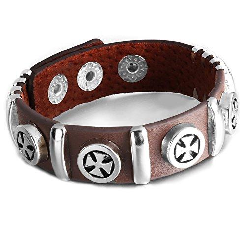 mendino pour homme bracelet jonc en alliage bracelet en cuir véritable marron/argenté pentagramme pentacle Star réglable