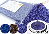 Hard Bean Wax, 35.27 OZ/ 1000g Huge Bag, Rapid Melt Hair Removal Wax, Stripless Body and Face Waxing, Lavender Scent by HAPPY BEANS