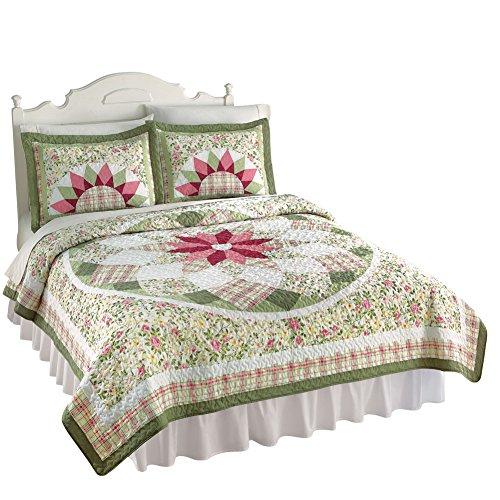 Darcy Star Floral Hand Pieced Patchwork Heirloom Quality Lightweight Quilt, Sage, Twin - Hand Pieced Quilt