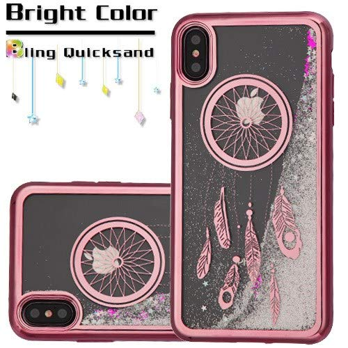 HD Accessory Electroplating Quicksand Glitter Transparent Case for iPhone Xs Max - Dreamcatcher Rose Gold 035