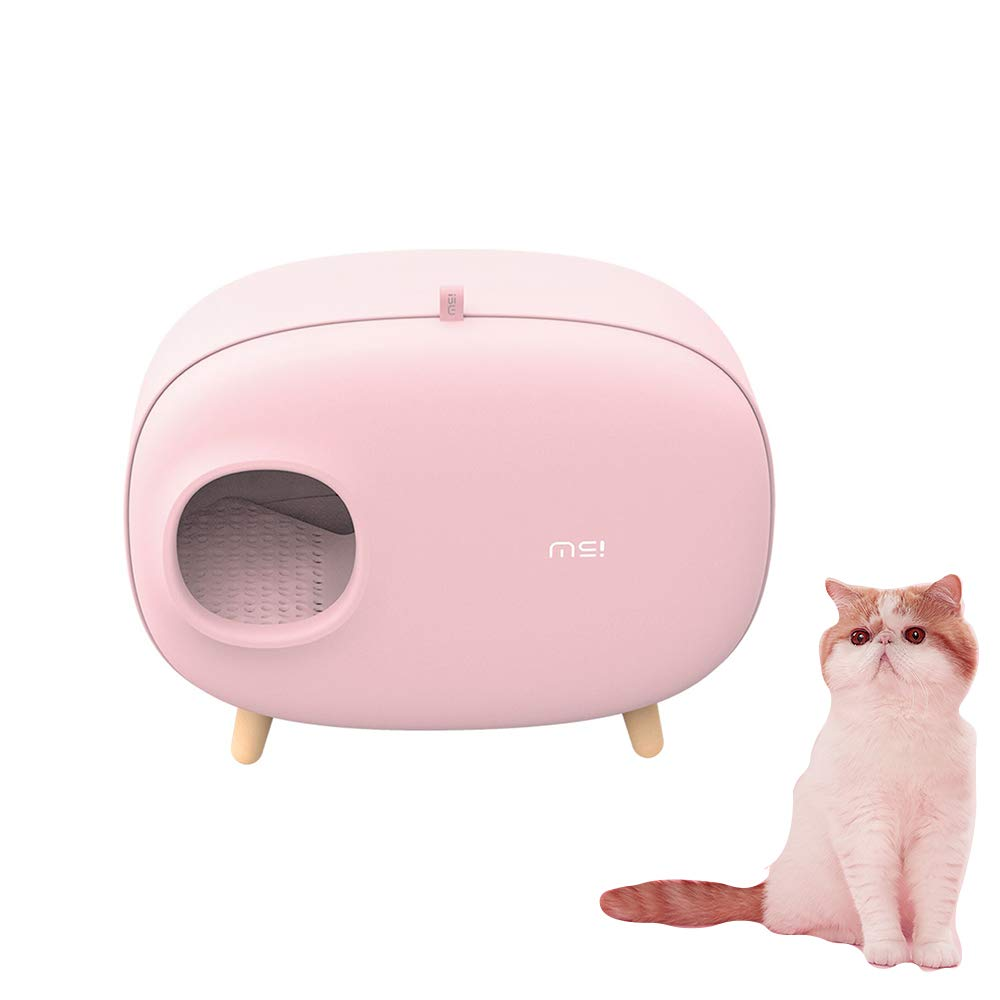 Lucky-M Cat Litter Box,Enclosed Design Luxury Cat Litter Box with Cat Litter Scoop for Cats Within 14.3lb,23.71815.2Inch (Pink) by Lucky-M