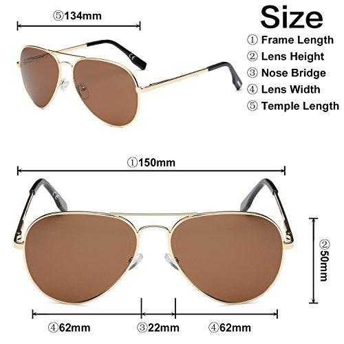 marco revo aviador de Metal sol puente marron amztm lentes polarizadas Gafas de doble oscuro espejo twFq7SX