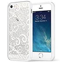 iPhone SE 5 5s Case, True Color® White Lace Pattern Printed on Clear Transparent Hybrid Cover Hard + Soft Slim Thin Durable Protective Shockproof TPU Bumper Cover Skin…