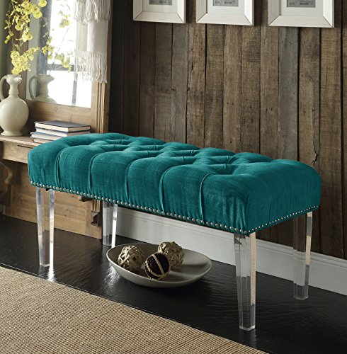 Iconic Home Odette Modern Button Tufted Turquoise Velvet Acrylic Ottoman Bench Buy Online In