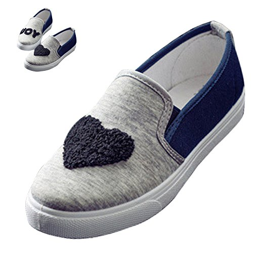 Gaorui Womens Ragazze Amanti Moda Casual Scarpe Di Tela Slip On Appartamenti Piattaforma Sneakers Nero