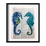 Dictionary Art Print - Coastal Seahorse