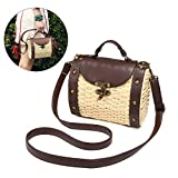 Top Handle Straw Bag, JOSEKO Womens Straw Handbag Shoulder Bag for Beach Travel and Everyday Use Light Brown 7.87''L x 4.72''W x 5.90''H