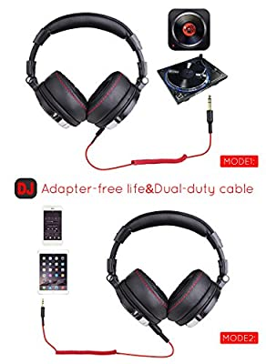 OneOdio Adapter-Free DJ Headphones for Studio Monitoring and Mixing,Sound Isolation, 90° Rotatable Housing with Top Protein Leather Earcups, 50mm Driver Unit Over Ear DJ Headsets with Mic from OneOdio USA