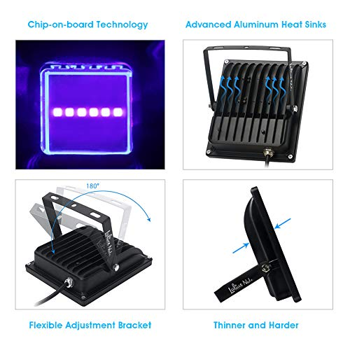Outdoor Black Lights, LaluceNatz 20W UV Blacklight Flood Light IP65 Waterproof COB UV LED for Body Paint, Fluorescent Poster Glow in The Dark Party Supplies by LaluceNatz (Image #1)