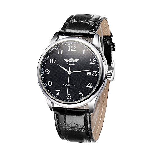 Romacci Simple Watch Hand-winding Mechanical Watch Comfortable Leather Strap Fantastic Unisex Wristwatch with Calendar (Winding Wrist Women Watch)