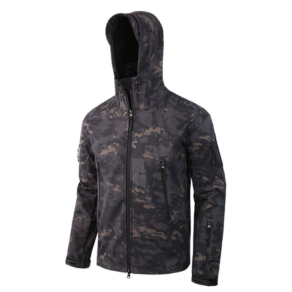 Black, 3XL Mens Outdoor Mountain Waterproof Windproof Softshell Ski Hooded Warm Jacket Rain Hiking Winter Coat