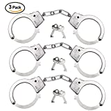 Kuuqa 3 Pack Kids Toy Metal Handcuffs with Key Play Toy for Kids Party Supplies Costume Accessory