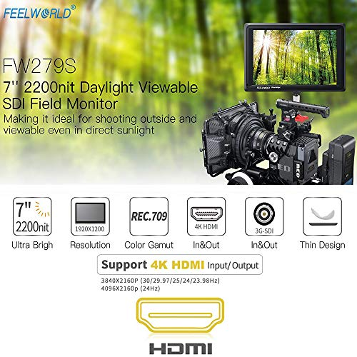 FEELWORLD FW279S 7 Inch 4K HDMI 3G-SDI 2200nit Daylight Viewable 1920x1200 On-Camera Field Monitor with Histogram, Focus Assist, Zebra Exposure, False Color, Check Field, Pixel to Pixel for DSLR Camer by FEELWORLD (Image #3)