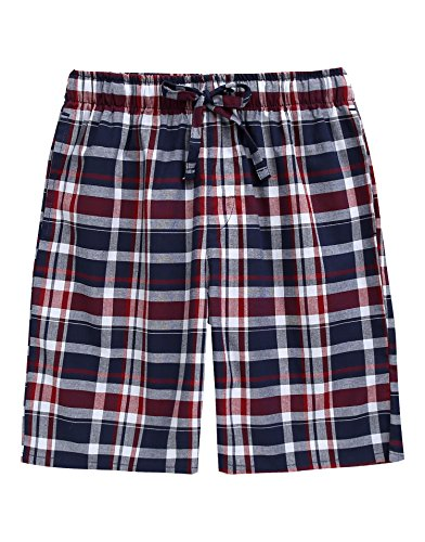 TINFL Men's Plaid Check Cotton Lounge Sleep Shorts MSP-SB011-Navyred XL