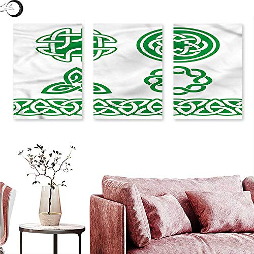 (J Chief Sky Irish Landscape Canvas Medieval Ancient Knots Triptych Wall Art W 12
