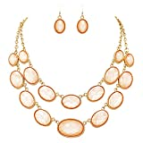 Rosemarie Collections Women's Oval Beaded Layered Statement Necklace Earrings Set (Peach)