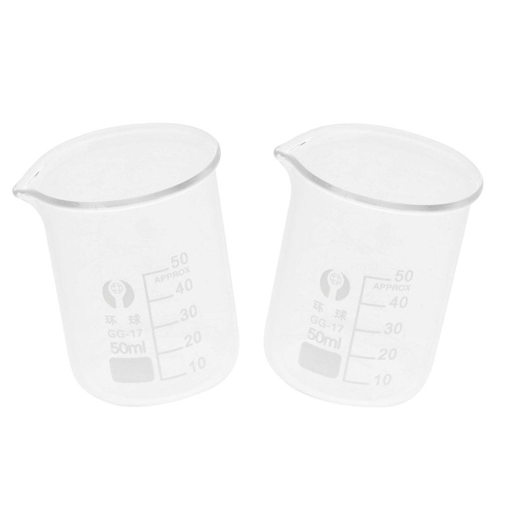 Baoblaze Glass 50ML/100ML Glass Measuring Low Form Beaker Set - Single Scale (2PCS) - Clear, 50ml