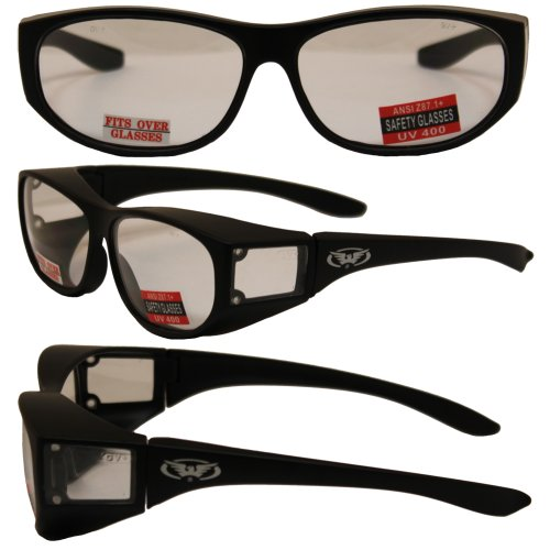 Escort Over Glasses Clear Lens Safety Glasses Has Matching Side Lens Meets ANSI Z871-2003 Standards for Safety Eyewear