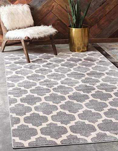 Unique Loom Trellis Collection Moroccan Lattice Dark Gray Area Rug 8 0 x 10 0