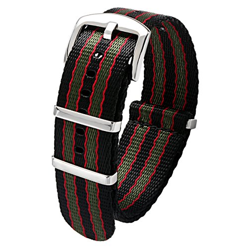 - PBCODE Seat Belt 22mm NATO Strap Black/Red/Green Vintage Old Style Watch Strap Nylon Replacement Band
