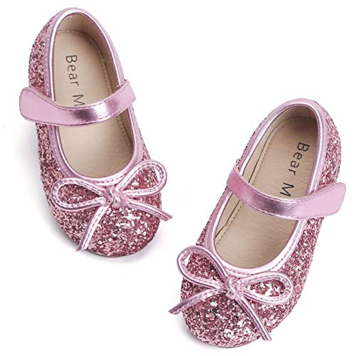 Bear Mall Girls' Shoes Girl's Ballerina Flat Shoes Mary Jane Dress Shoes (Little/Toddler Girls Shoes/Big Kids) (12 M US Little Kid, Glitter Pink)]()