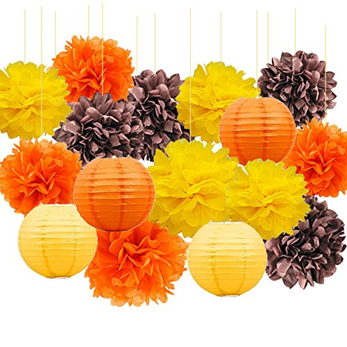 Fall and Winter Decorations Autumn Thanksgiving Decorations, Fall Harvest Decorations Hanging Tissue Paper Pom Poms Mixed Paper Lanterns for Birthday Decor, Baby Shower Fall Party Supplies