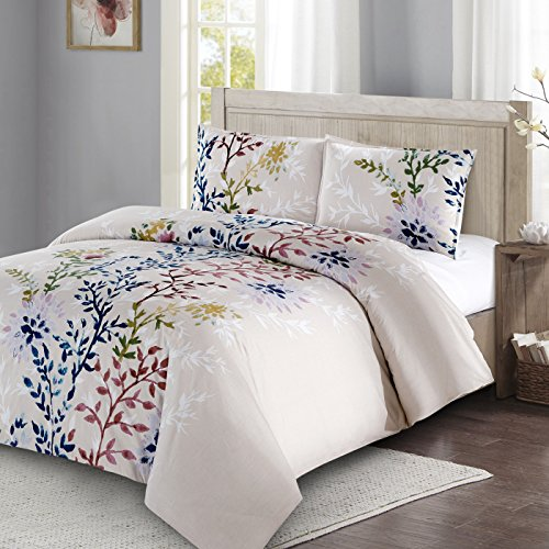 Style Quarters Dahlia Lane 3pc Duvet Cover Set - Multi-Color Floral Stems with White Leafy Silhouettes - 100% Cotton - Machine Washable - Includes 1 Duvet Cover + 2 Shams (Queen)