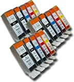 15 Chipped Compatible High-Capacity Canon PGI-525 & CLI-526 Ink Cartridges for Canon Pixma MX882