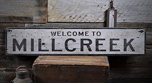 Welcome to MILLCREEK - Custom MILLCREEK, PENNSYLVANIA US City, State Distressed Wooden Sign - 5.5 x 24 - Millcreek Pennsylvania