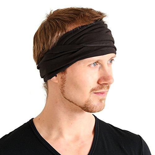 Casualbox Mens Womens Japanese Elastic Cotton Spandex Head Band Wrap Neck Warmer Black