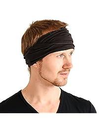 Casualbox mens Japanese Elastic Cotton Spandex Headband Neck Warmer Black