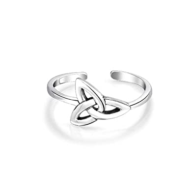 5895ab506b161 Celtic Trinity Knot Work Triquetra Shape Midi Toe Ring Thin Band Oxidized  925 Silver Sterling Adjustable