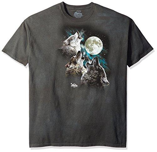 Three Wolf - The Mountain Three Wolf Moon Glow Adult T-Shirt, Black, 3XL