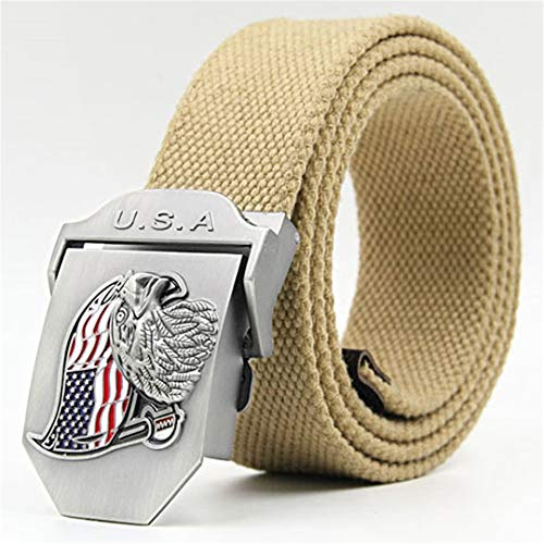 (OutdoorZhShi Canvas Military Tactical Waist Belt Men's Casual Eagle Flag Metal Automatic Buckle Belt Cool Tactical Gear 07 125cm)