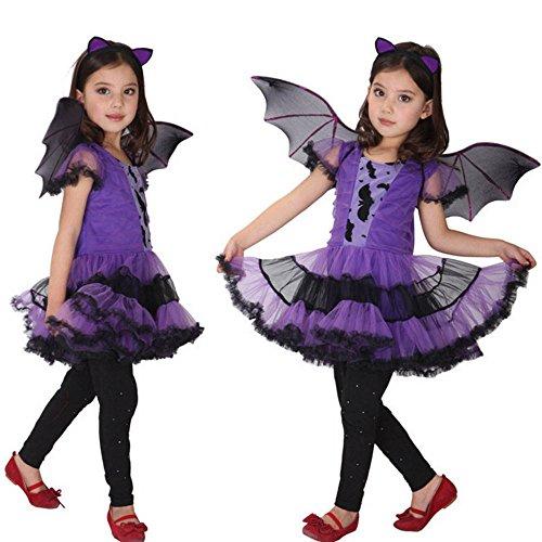 Kids Girls Deluxe Halloween Costumes School Performance Cosplay Dress Hair Hoop Bat Wing Set Zulmaliu (Purple, 3T-4T)