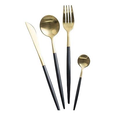Juego de Cubiertos de Oro Negro de Portugal Occidental 304 Acero Inoxidable (tamaño : 2